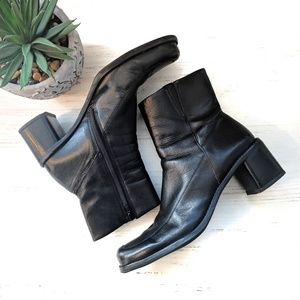Diba Shoes - Diba Retro Leather Chunky Heel Boots Size 8.5